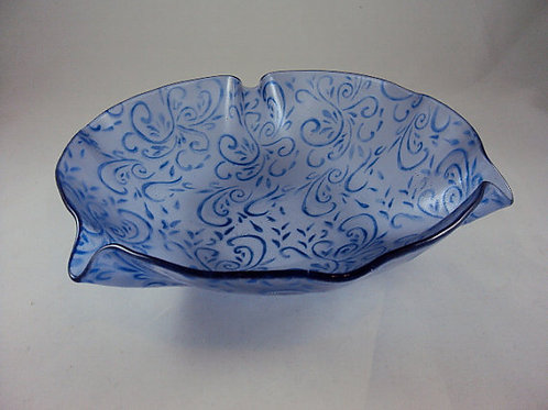 Blue on Blue-Violet Wallpaper Patterned Bowl