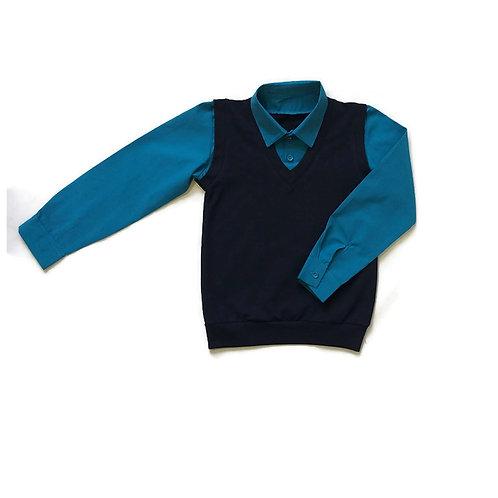 Рубашка с имитацией жилета