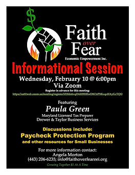 Faith Over Fear #1 Informational Sesssio