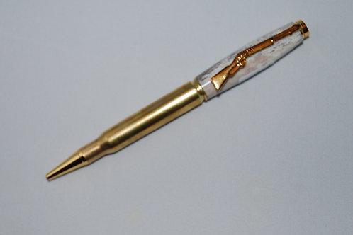 30 Caliber Bullet Pen w/ Deer Antler