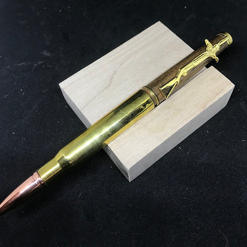 30 Caliber Bullet Pen in Walnut with Duck Clip