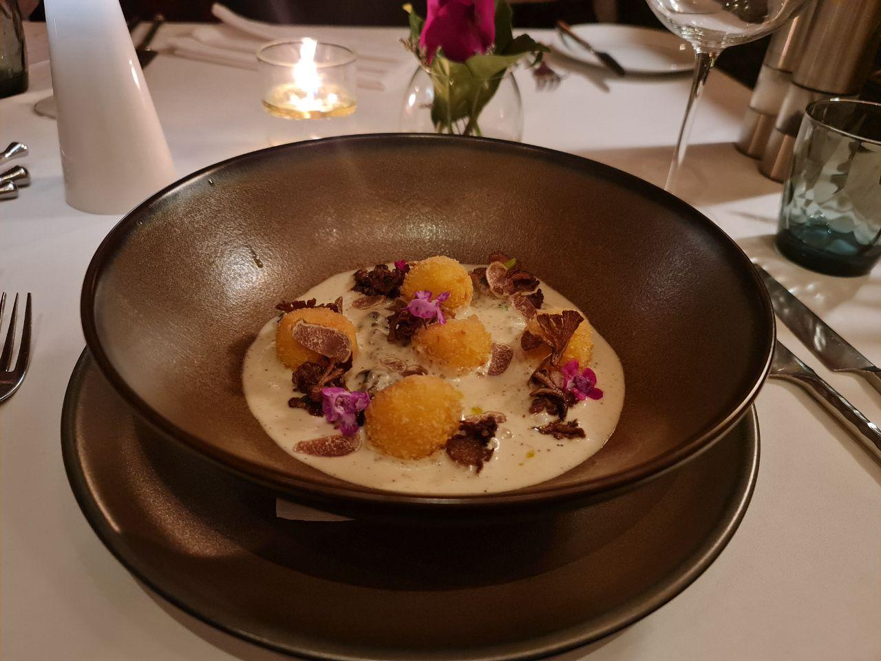 Foie Gras and Jerusalem Artichoke with Quail egg croquet