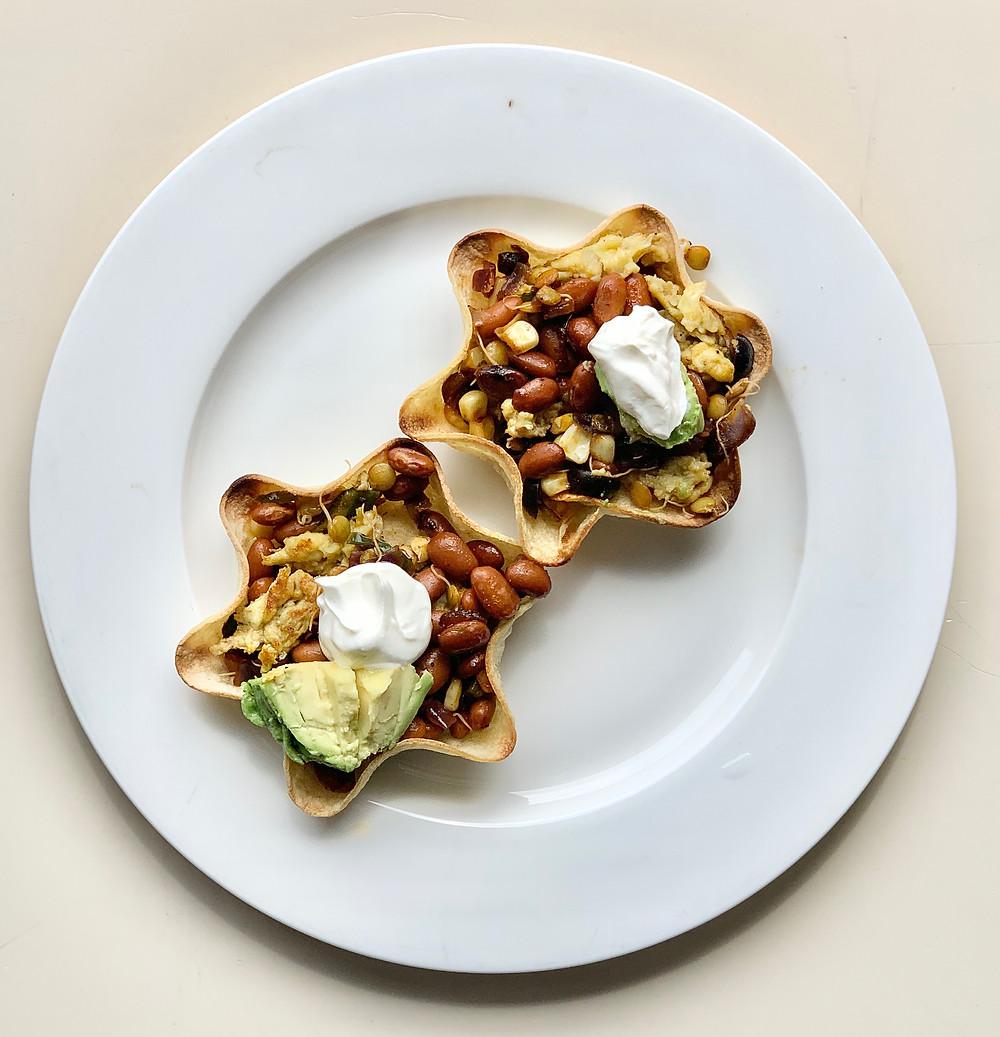 Egg Scramble and Veggie Tostadas