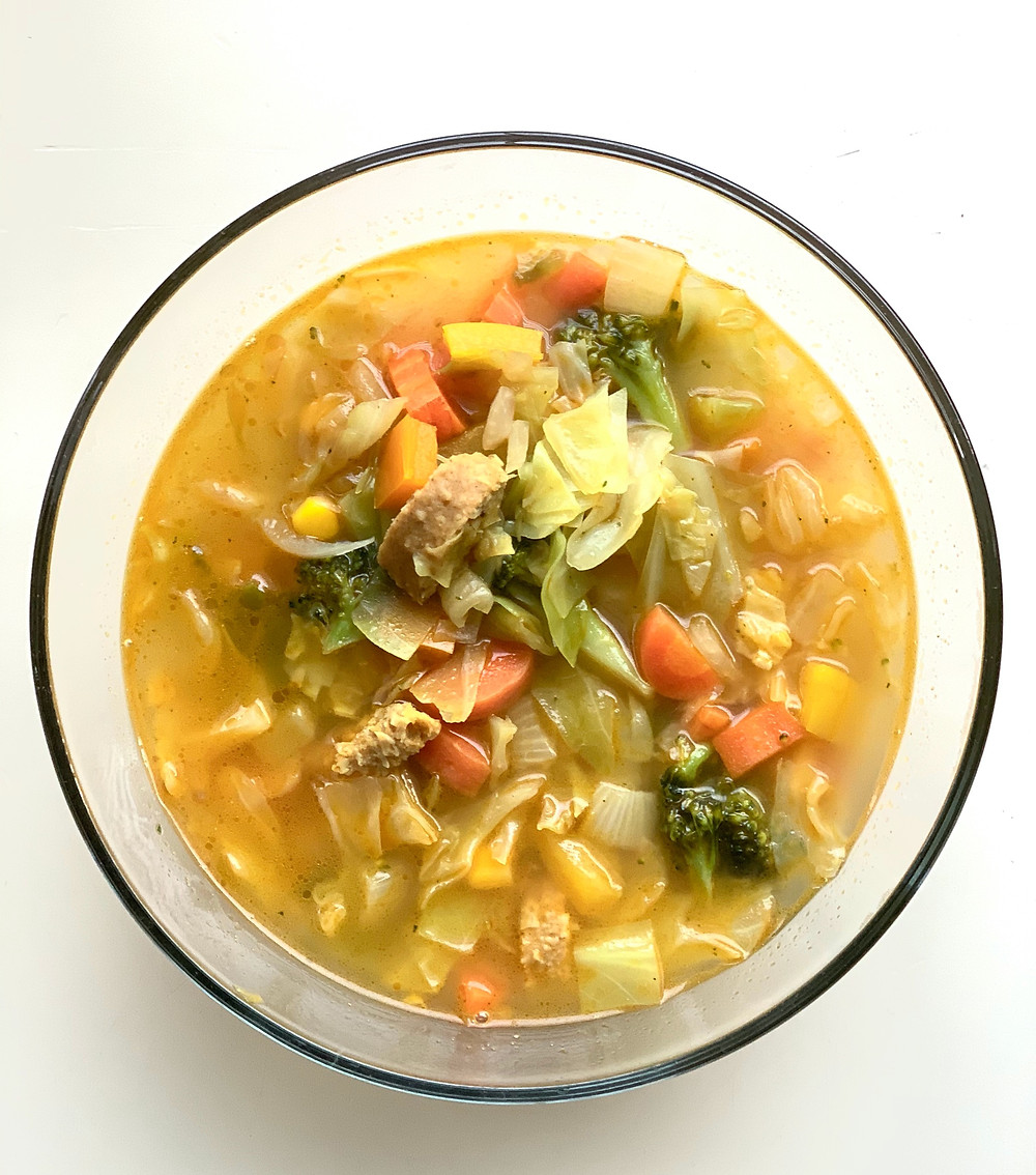 Veggie Soup with Turmeric Root & Beyond Meat HOT Italian Sausage