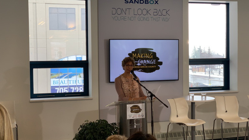 Michele Newton introduces the event