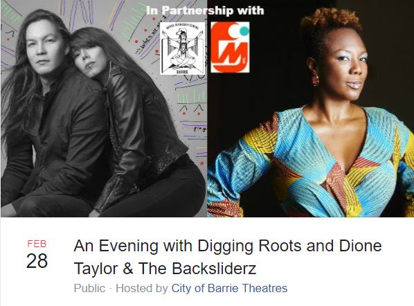 An Evening with Digging Roots and Dione Taylor in Barrie during Black History Month