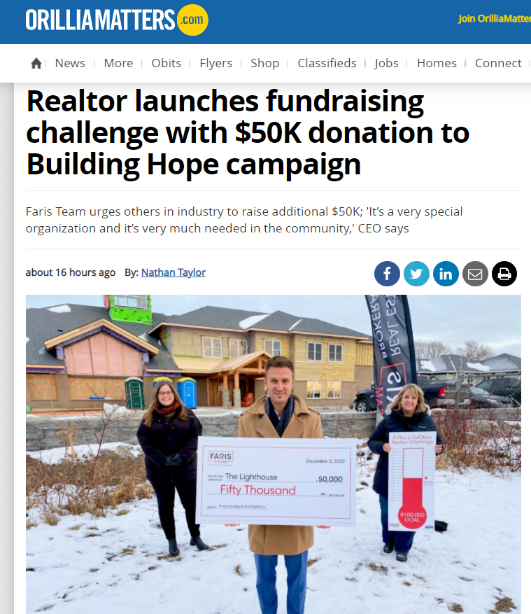 Faris Team Donation to Lighthouse Orillia Matters 8 Dec 2020 coverage PMJ Client