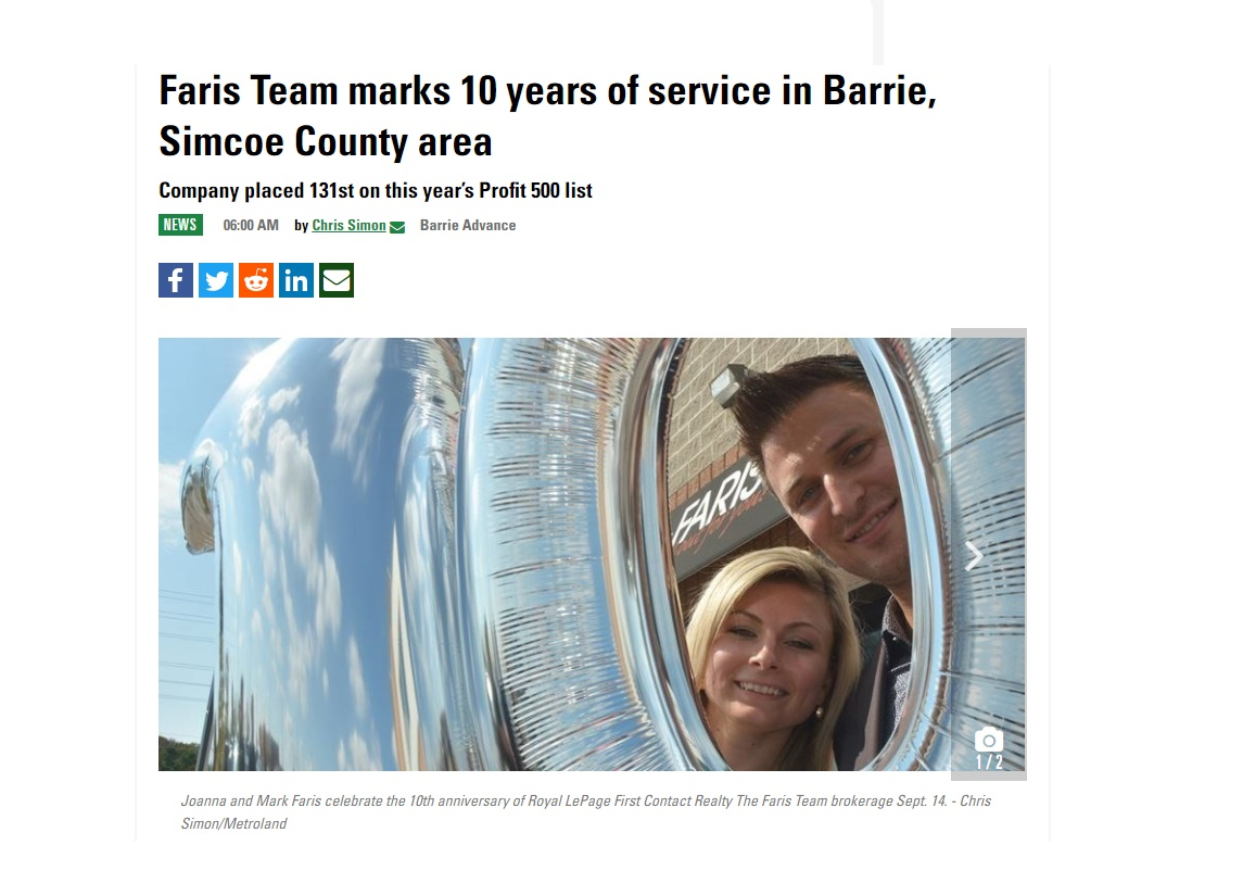 Faris Team Celebrate 10 years  simcoe com coordinated by Michele Newton PMJ Inc