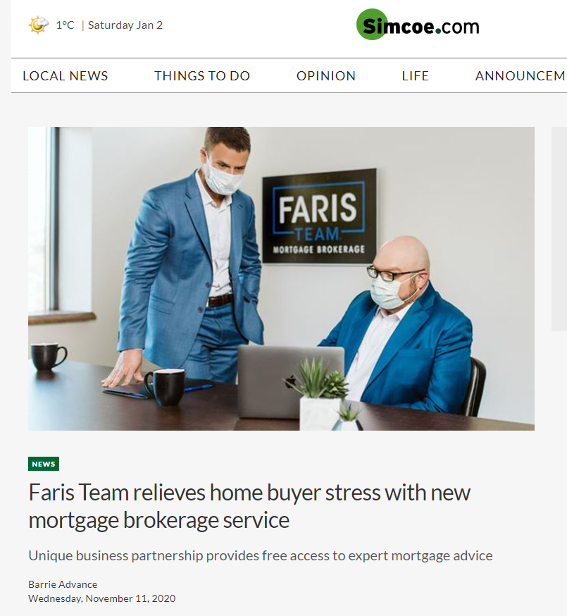 Faris Team Mortgage Brokerage Barrie Advance Nov 11 2020 PMJ Inc Client