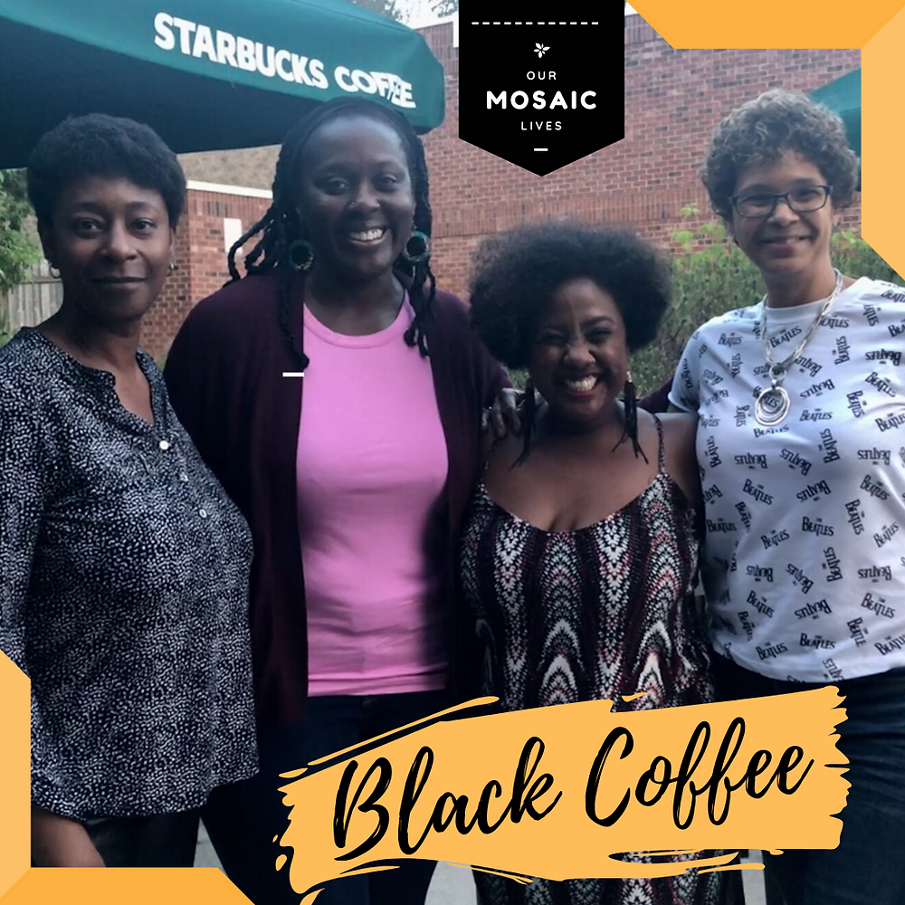 Four black women smile about the Black Coffee event Michele Newton launched