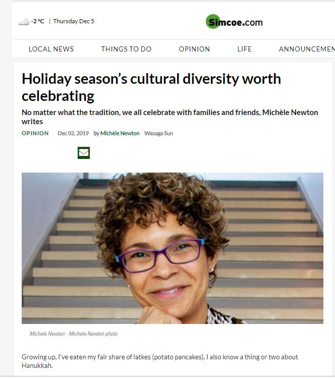 Diversity and inclusion column by Michele Newton in the Simcoe dot Com papers