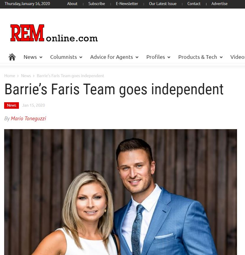 Faris Team Goes independent REM Article Jan 16-2020 Coordinated by Michele Newton