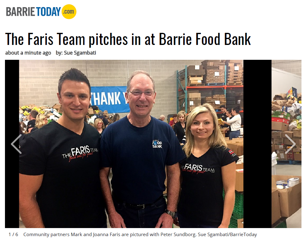 Mark and Joanna Faris at Barrie Food Bank Barrie Today Coverage April 2017 with PMJ Inc