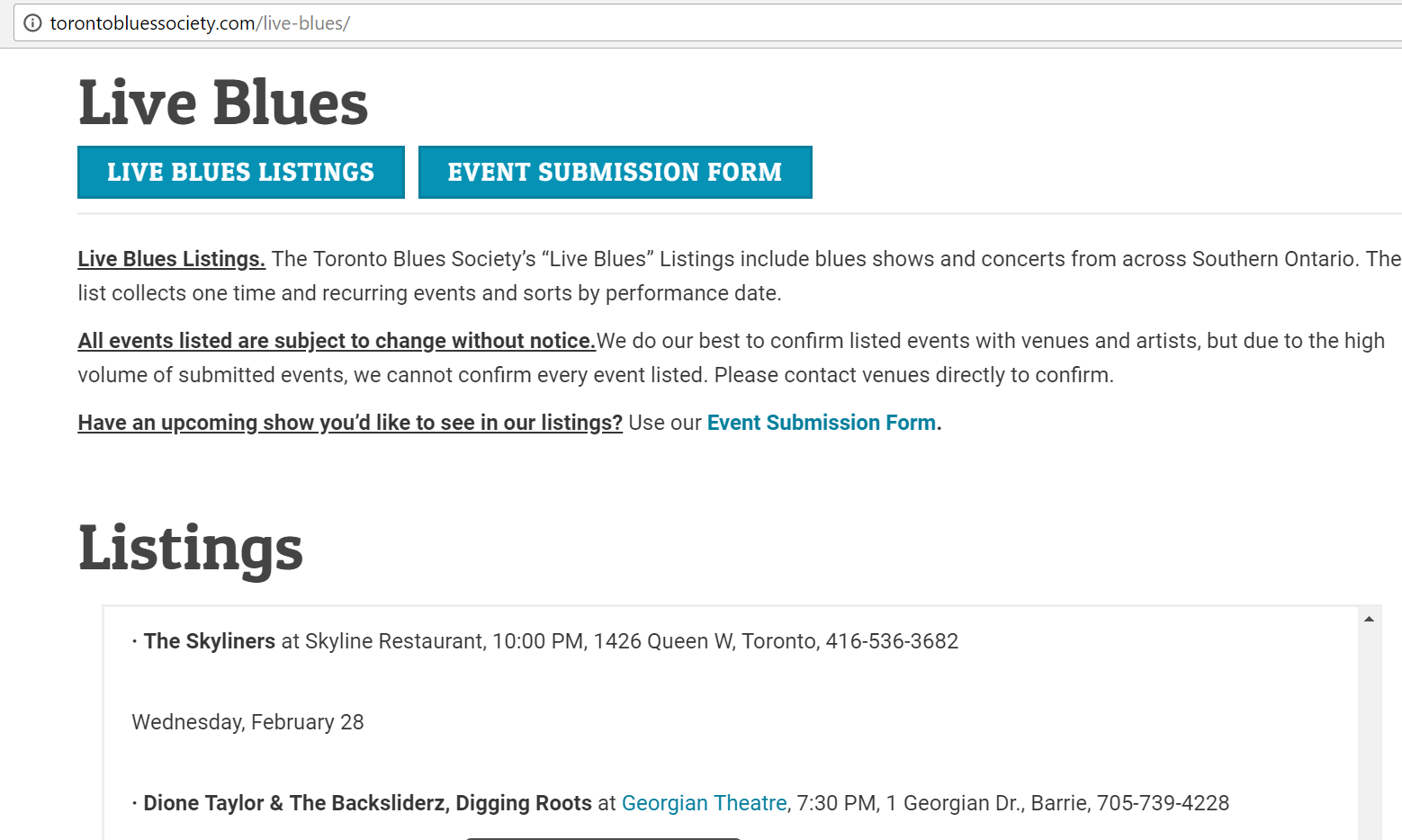 toronto blues event listing