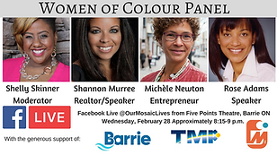 Michele Newton on poster for city of BarrieWomen of Color Panel for black history month