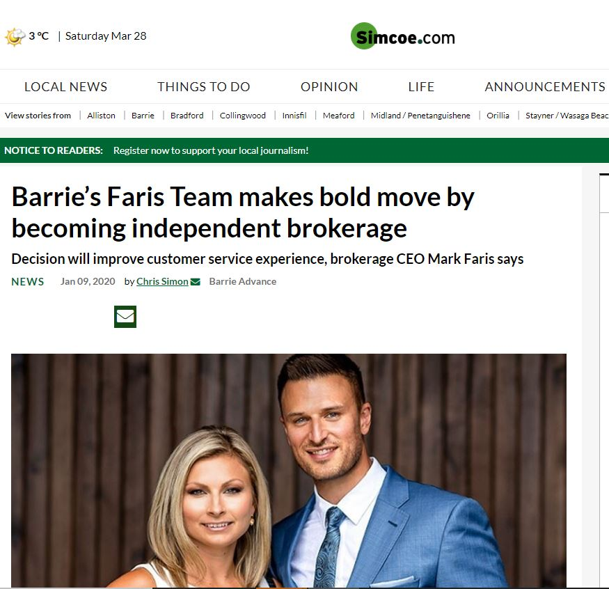 Faris Team goes Independent Simcoe dot com article Jan 9 Coordinated by Michele Newton