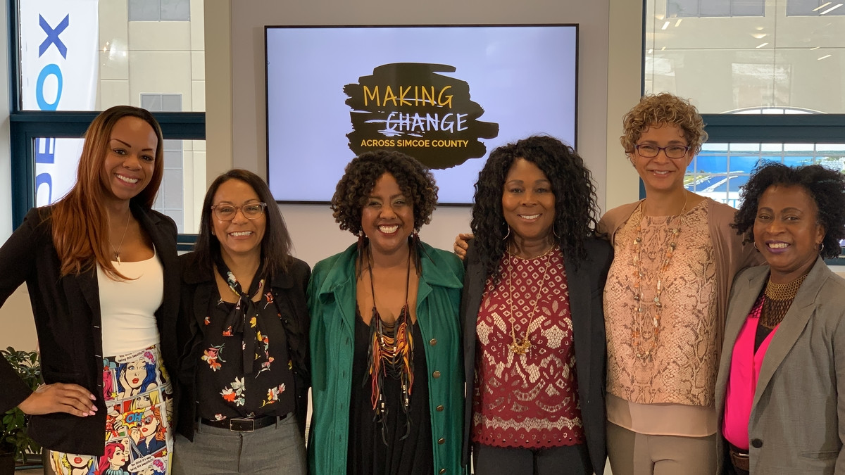 Organizers Stephanie Gourlie Shelly Skinner and Michele Newton with panellists Alicia Samuel Claudine Cousins Wendy Vincent