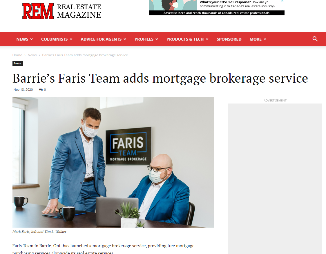 Barries Faris Team Adds Mortgage Brokerage 13 Nov 2020 PMJ inc Client