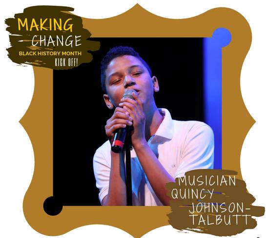 Musician Quincy Johnson-Talbutt performs