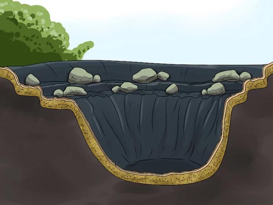 Cómo hacer un estanque en el jardín: Fija la lona