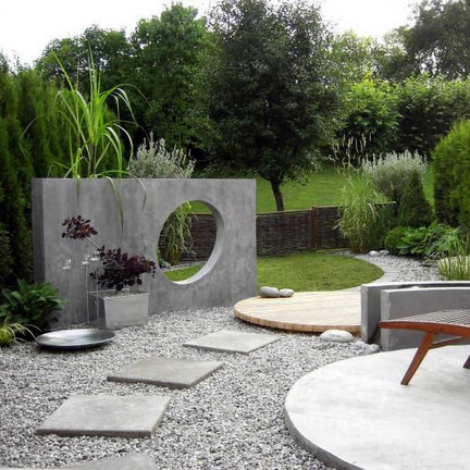 Decoración de un jardín zen
