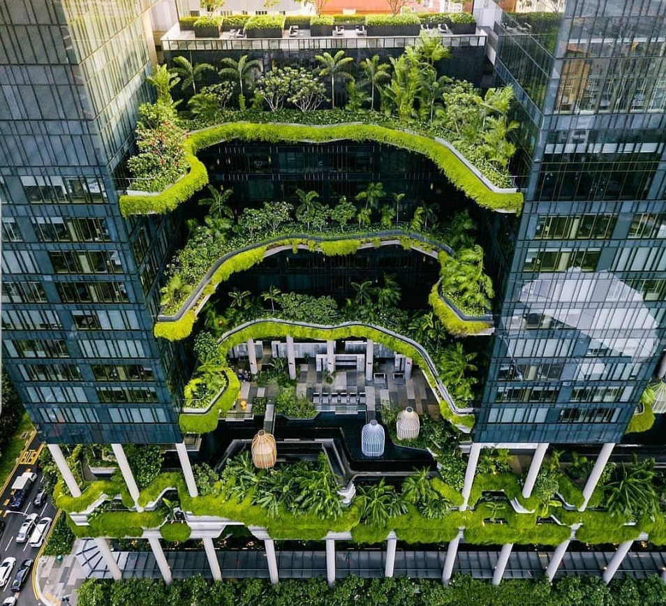 Jardín vertical en Hotel Parkroyal on Pickering (Singapur)