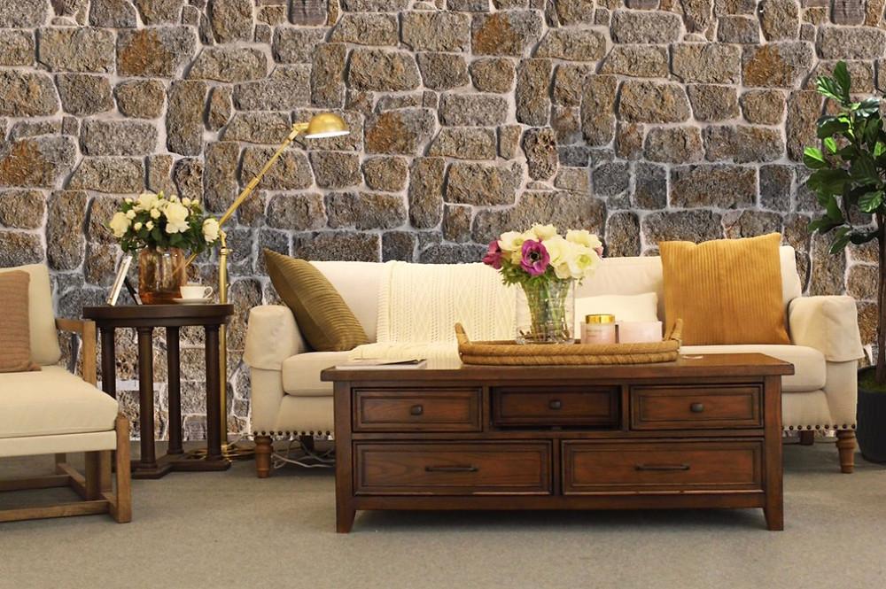 Revestimientos en piedra irregular: una estancia completa