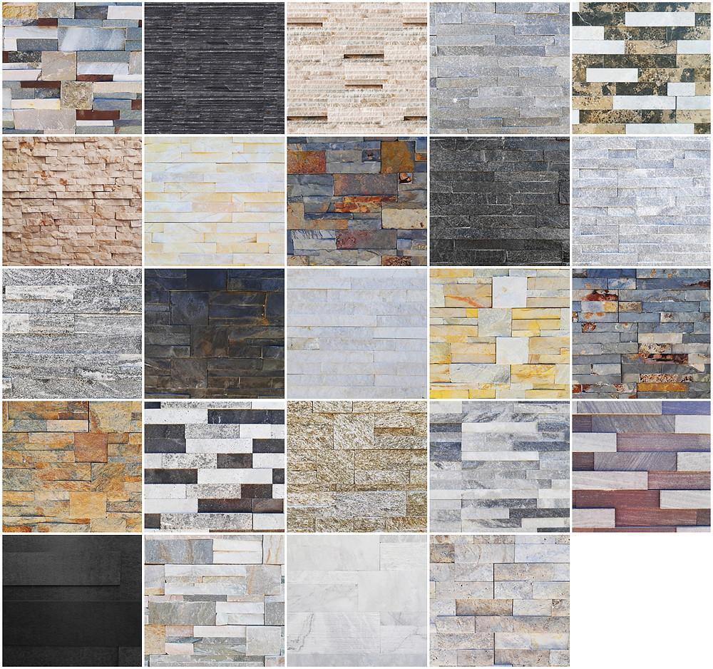Paneles premontados de piedra natural. Taco fino