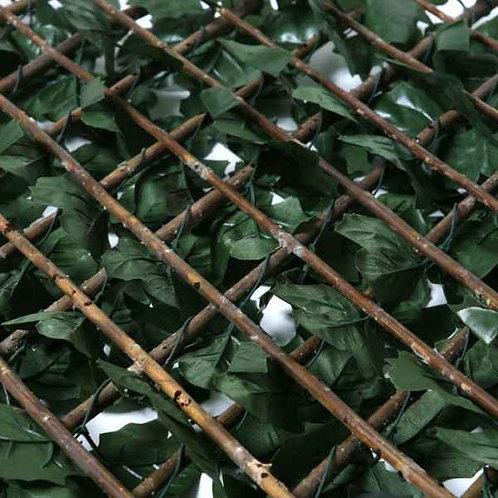 Celosía de mimbre extensible con hojas