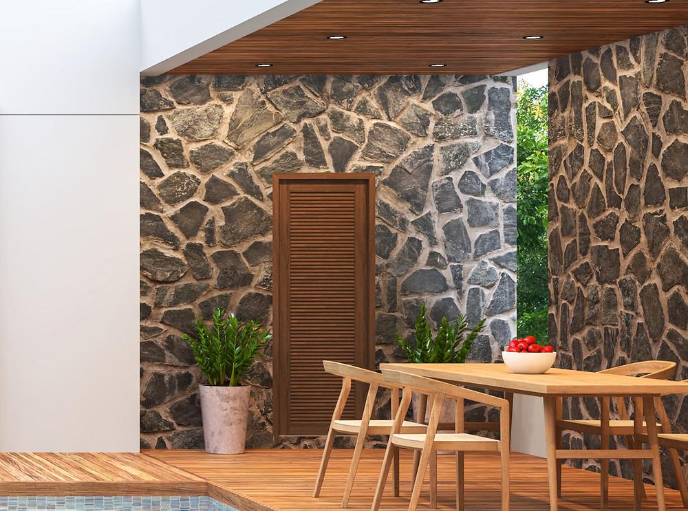 Revestimientos en piedra irregular: porches