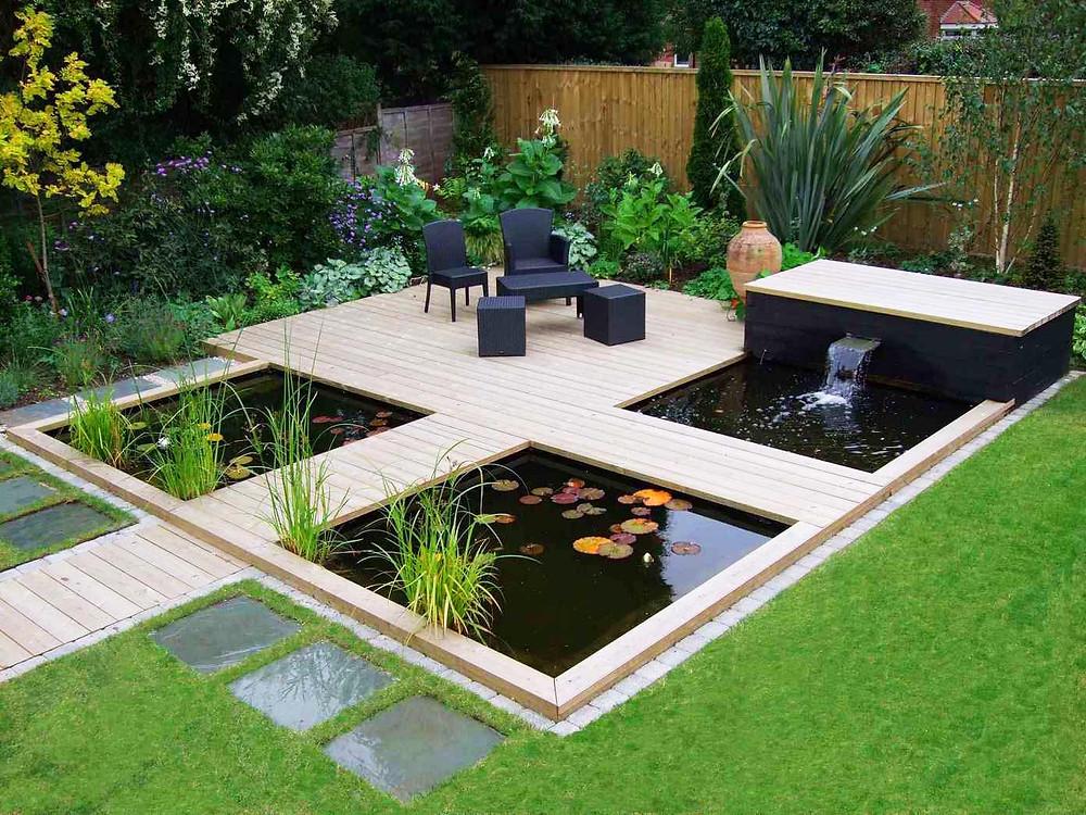 Jardines con estanques minimalistas