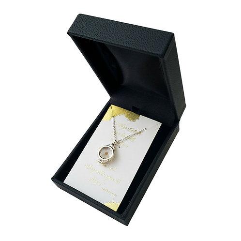 Mustard seed necklace, 925 sterling silver locket, mustard seed in resin