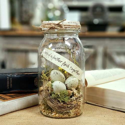 DIY Moss terrarium kit with bird's nest and eggs