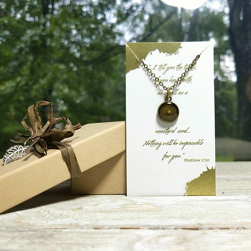 Mustard seed necklace, resin and bronze charm necklace