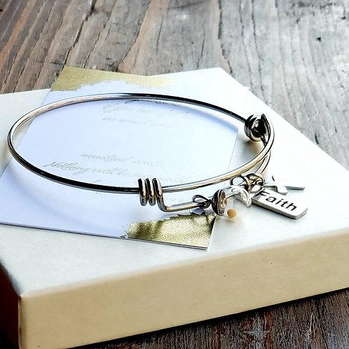 Mustard seed charm bangle bracelet
