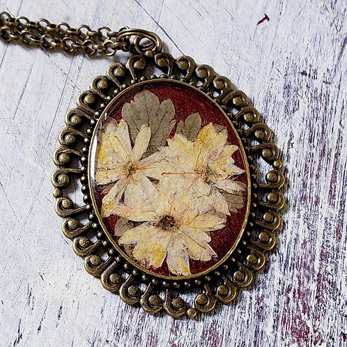 Wildflowers in Resin, bronze filigree, cream on burgundy