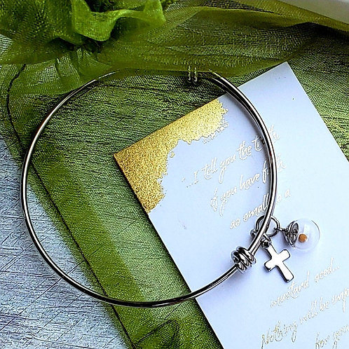 Mustard seed charm bracelet bangle