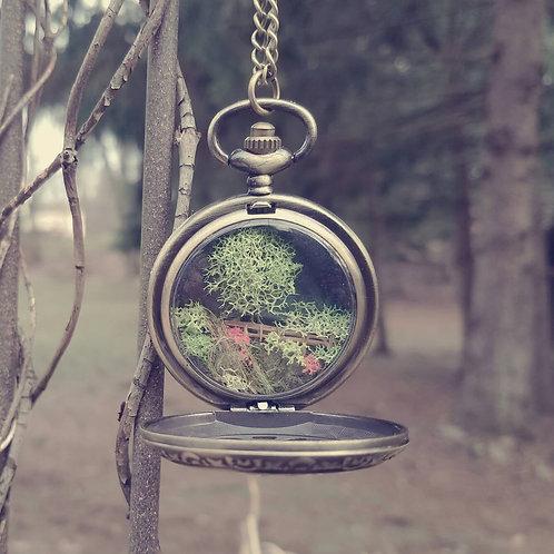 Psalm 23 Necklace, Pocketwatch Terrarium Necklace
