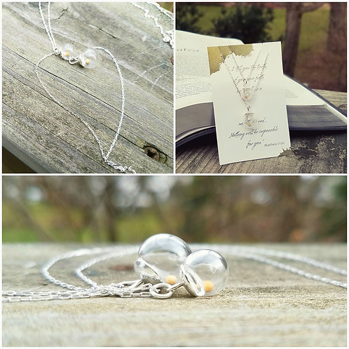 Mother and daughter mustard seed necklace set, sterling silver