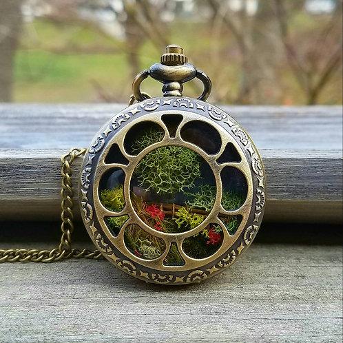Steampunk Pocketwatch Terrarium necklace, Moss Necklace