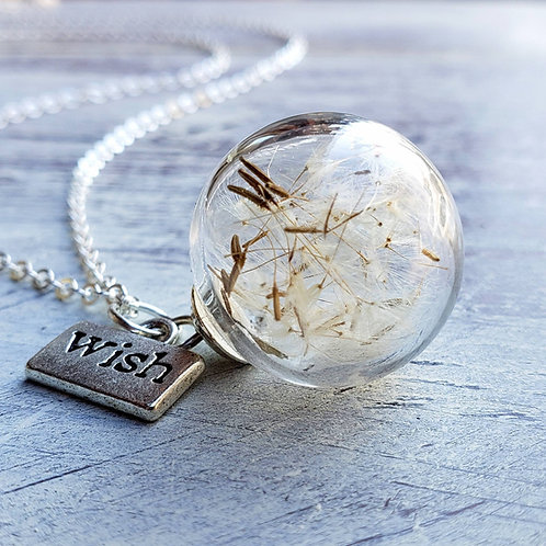 Dandelion seed necklace with silver wish charm