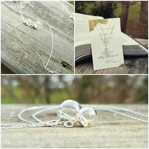Mustard Seed Necklace set, sterling silver, Mother-daughter necklace set