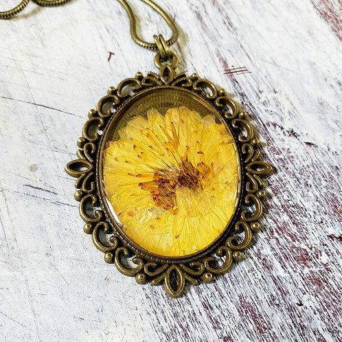 Wildflowers in resin, yellow mum with filigree