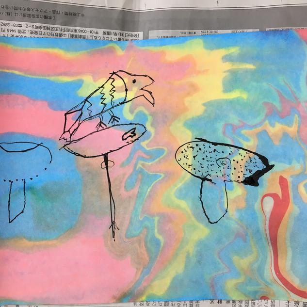 マーブリングと墨割り箸ペン画