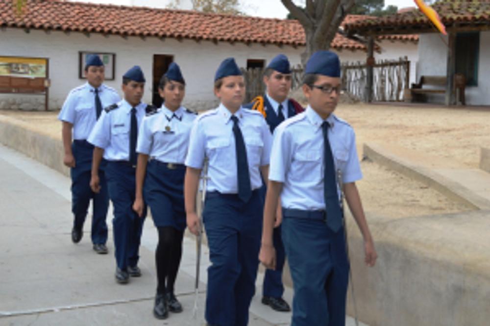 Oxnard High School's Air Force Junior ROTC Saber Team. Photo by Mike Imwalle.