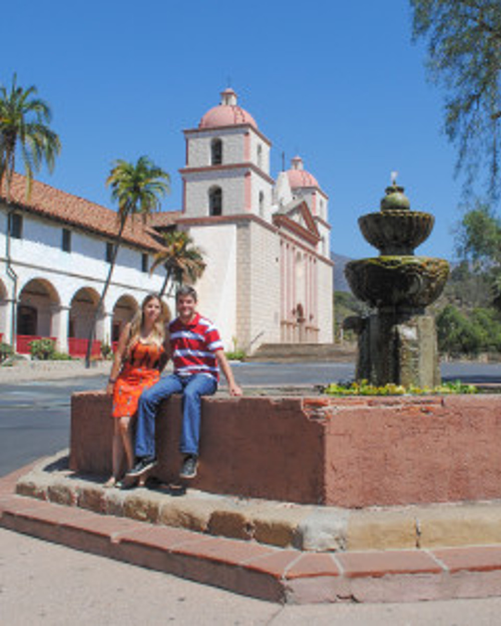 Mabel Cobo Hernando with her husband Jesus at Old Mission Santa Barbara on the day following her lecture. Alex Grzywacki.