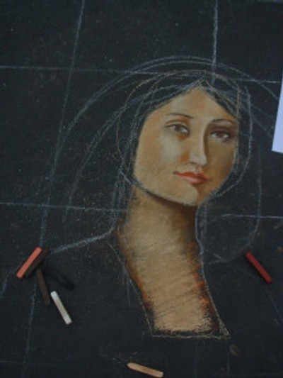 Starting the woman's portrait. Photo by Dana Hughes