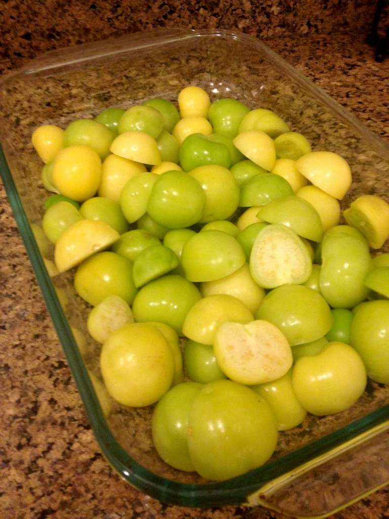 The tomatillos after preparation and over-ready! Photo by Brittany Avila.