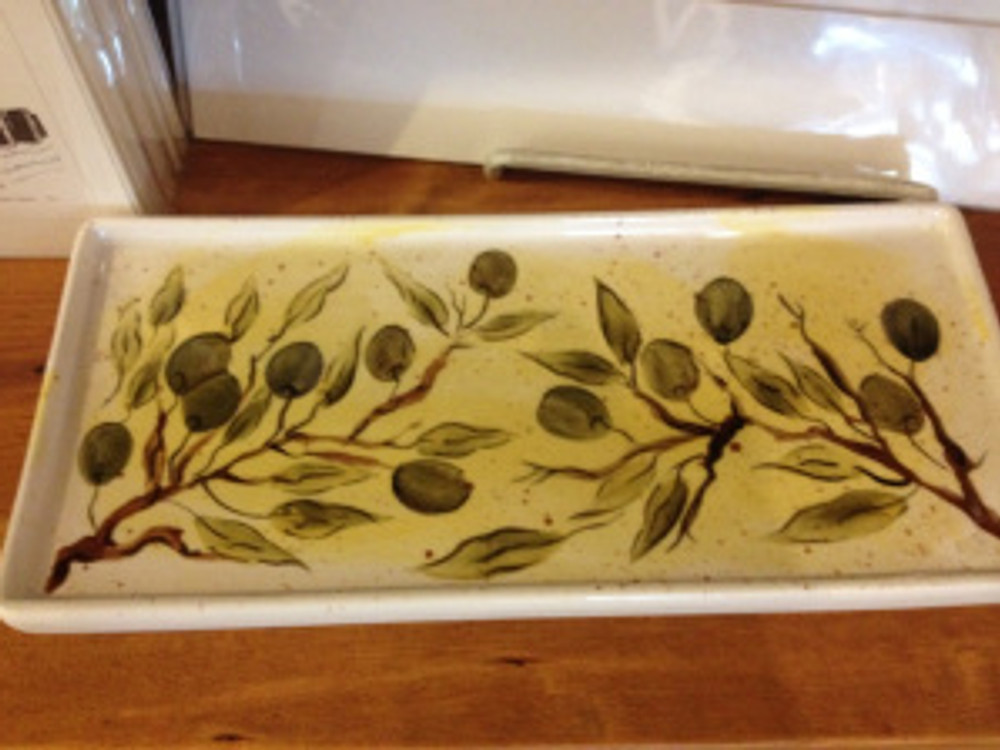 Detail of olive tray. Photo by Katie Sorensen.