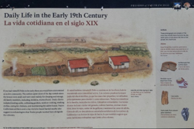 Interpretive Signage explaining the settlement of El Polin Springs. Photo by Mike Imwalle.